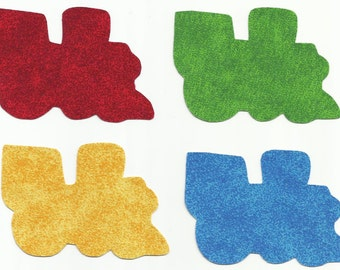Set of 4 Blue, Green, Red and Yellow Trains Fabric Iron on Appliques ~ No Sew
