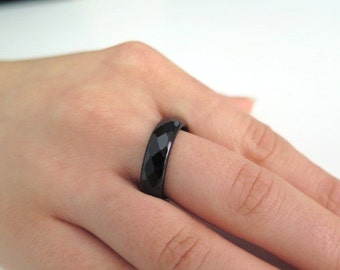 Onyx  faceted ring, Band ring, Stacking ring, Stackable gemstone ring, Healing ring, Faceted gemstone ring, Band gemstone, Black ring