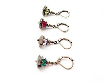 SALE - Birthstone Jewelry - Mom Gift - Birthstone Flower - Earrings - Mother Jewelry - Girls Earrings - Birthstone Gift - Best Friend Gift