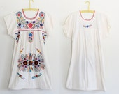 Vintage 60s Dress 1960s Mexican Floral Embroidered Cotton Shift Dress