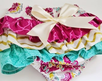 Baby Girl Bloomer-Fall baby girl-Summer outfit-fuscia teal gold-ruffle diaper cover-Gold and Fuscia and Teal Bloomer-Gold Chevron