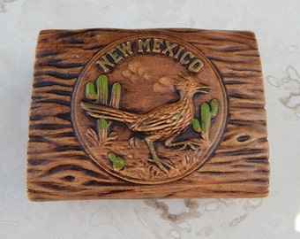New Mexico Souvenir Trinket Box  --  Ceramic New Mexico Souvenir Trinket Box  --  New Mexico Souvenir  --  Road Runner Trinket Box