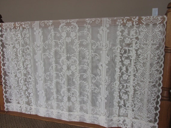 Lace Fabric, Lovely cream lace curtain panels, DIY wedding pillow, applique supplies, sewing supplies, craft supplies, lacey fabric,  FY7