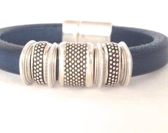 Blue Leather Cuff Bracelet -Silver Leather Cuff - Womens Leather Bracelet - Leather Bracelet -  Gift for Her