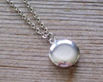 Tiniest Silver Round Locket, Layering Locket Necklace, Silver Plated Mini Locket, Locket Pendant Necklace, Minimalist Necklace, Love Locket