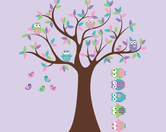 Wall decals - Nursery tree - Kids Tree with 4 owls 7 birds and set of 5 FREE owls nursery vinyl wall decal