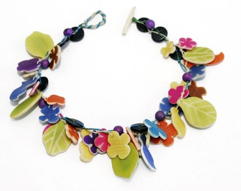 Colorful statement necklace Jungle theme Flowers Leaves Birds Pendant Tagua Vegetable ivory Rainforest Eco necklace nature hippy chic OOAK