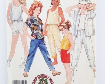 McCalls pattern 2479, girls shorts pattern, girls top pattern plus pants, 1980s Camp Beverly Hills line