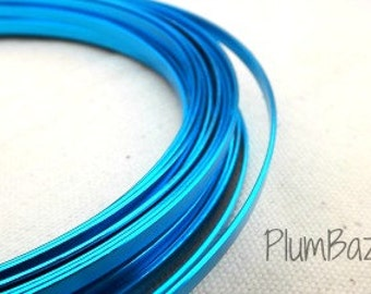 Aluminum craft wire , turquoise blue, 5 mm flat 24 foot coil