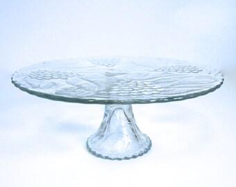 Vintage Glass Pedestal Cake Plate with Grapes - Floyd Jones Vintage