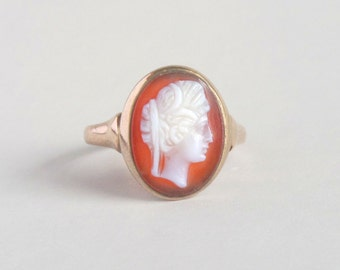 Antique Carnelian Cameo Ring. Rose Gold.