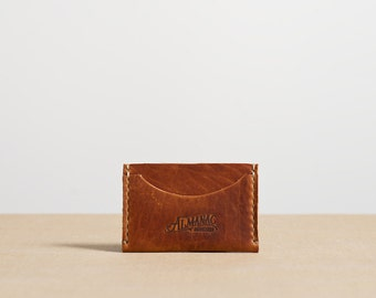 Three Pocket Flat Card Case - Distressed English Tan