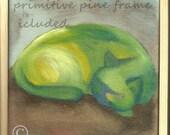Framed Oil Painting CAT Expressionistic Rough Primitive Burned Umbra Lemon Zest Lettuce Green Broccoli Green Original painting on canvas