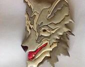 Wolf head intarsia