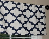 """READY to SHIP Premier Prints Fynn Quatrefoil Navy Blue Valance 50"""" wide x 16"""" long Lined Blue and White"""