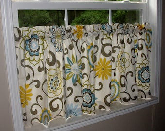 """Waverly Pom Pom Play Spa Cafe Curtains 80"""" wide x 30"""" long Big Bold Flowers Blue Yellow Green Putty Floral"""