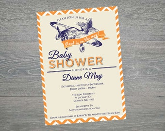 Boy Custom Plane Baby shower invitations, chevron