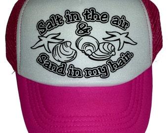 KID'S TODDLER Salt in the air Sand in my hair Neon Beach Mesh Trucker Hat Cap
