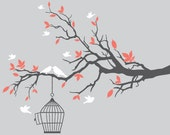 Branch with birds wall decals decal leaves bird branch wall sticker