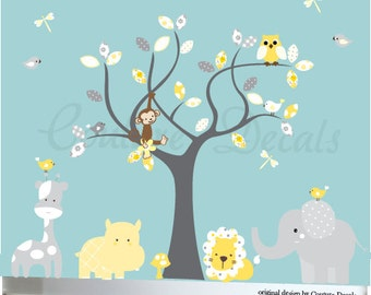 Childrens vinyl wall decal, decal tree wall art, vinyl tree decal