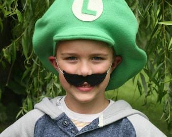 Super Mario Brothers Inspired-Child's Fleece Luigi Hat & Luigi Mustache
