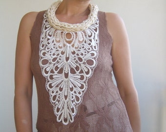 Knit lace collar/giuppiure lace collar bold/fiber art necklace bold/artisan collar lace/bridal ivory lace necklace