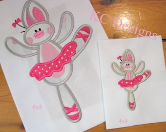 Bunny Ballerina 02 Machine Applique Embroidery Design - 4x4, 5x7 & 6x8