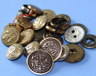 25 Vintage Metal Buttons Various Sizes