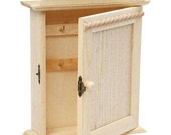 Plain Wooden Key Cabinet - Peg Hooks Storage - Paint Decorate Personalise - Home Gift
