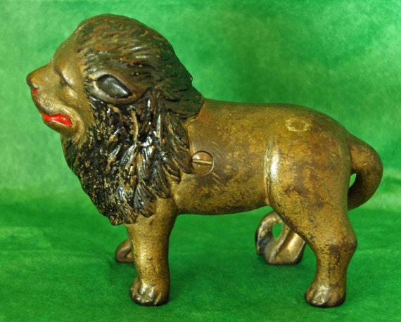 Antique Vintage LARGE LION A C Williams STILL Bank Old Scarce Cast Iron Ca 1905-1931 No repairs Original screw, Excellent As Found Condition