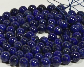 "Lapis 8mm 15 1/2"" inch Strand Natural Gemstone Beads Lapis Lazuli Jewelry Making Supplies"