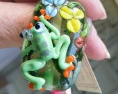 Glass Mermaid Focal Bead , Hand Sculpted Mermaid  Bead -  Lampwork Bead SRAJD, GBUK fhf