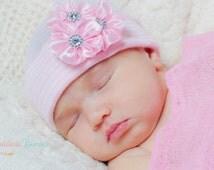 MORE COLORS!  baby girl beanie Newborn Beanie Girls Beanie beanie with flower cluster baby girl newborn hospital hat infanteenie beanie