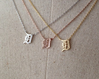 D Detroit Necklace, Dainty Necklace
