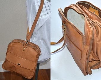 Vintage tan leather convertible duffle handbag travel bag shoulder bag  unisex back to school weekend bag tan luggage bag