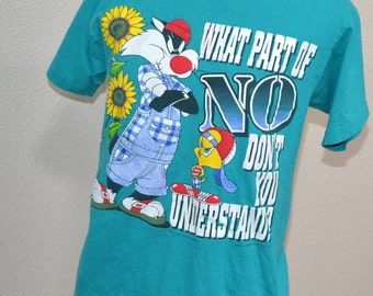 Vintage Looney Tunes - Tweety Bird- Sylvester Warner Bros.   T-Shirt  Unisex  Blue t shirt size M What part of NO don't you understand?