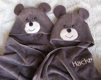 Bear Hooded Towel for Beach, Pool, or Bath