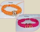 Handmade Cord Bracelet, Stackable Bracelet, Nylon Cord Bracelet, Crocheted Cord Bracelet, Rope Bracelet, Crocheted Bracelet, Orange, Fuchsia