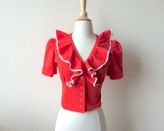 Vintage Ruffled Cropped Red Top