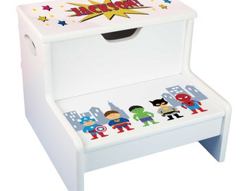 Kids Personalized Superhero STEP and Store Stool Great for Super Hero Boys Storage Stools w Super  sc 1 st  Etsy & Boys Personalized Superhero STEP Stool Great Super Hero Boys islam-shia.org