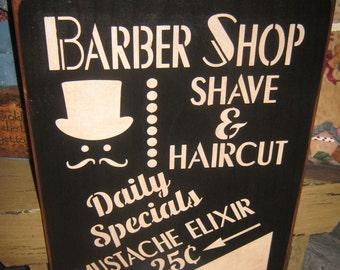"Primitive Lg Wood Barber SHop Barbershop Sign Hand Painted "" BARBER SHOP Shave & Haircut "" Mustache Elixir Housewares Mancave"