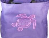 SALE* Honu Sea Turtle Embroidered on a Purple Tote Bag