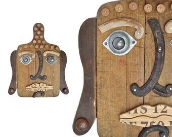 mixed media assemblage, vintage cutting board, kitchen Buddha 16, zen art, modern sculpture mask  by Elizabeth Rosen