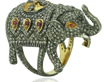Sale! Victorian Art Deco Retro Design 2ct Diamond 1ct Ruby Sapphire Maharajah Elephant Trunk Up Good Luck Fashion 18k Gold Ring