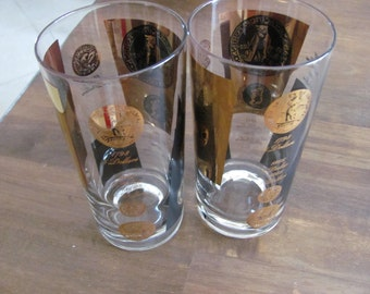 Vintage CERA Black And Gold Coin Glasses Mint Condition Mid Century Glasses