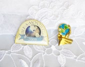 Lot of Two World Pins Lapel, Gold Tone, World Design,  Enamel, Collectors Pin, Item No. B292