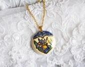 Round Porcelain Pendant, Hand Painted Porcelain, Gold Trimming, Victorian Flower Design, Item No. B424