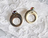 Vintage Round Earrings, Silver Tone Hopp, Oval Rhinestones, Classic Design, HALF OFF SALE, Item No. B397
