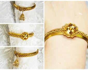 Hinged Cuff Bracelet, Vintage, Gold Tone, Boho Jewelry, HALF OFF Sale, Item No. B 038