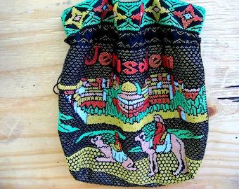 Vintage beaded purse shoulder bag Jewish jerusalem